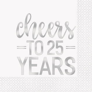 Luncheon Napkins-Cheers to 25 Years-16pk-2ply