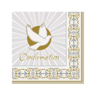 Luncheon Napkins-Silver & Gold Radiant Cross Confirmation-16pk-2ply