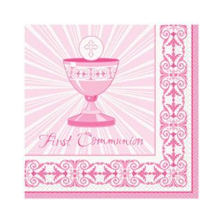 Luncheon Napkins-Radiant Cross Pink Communion-16pk-2ply