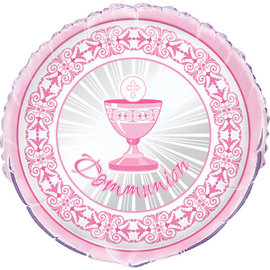 "Foil Balloon 18""-Radiant Cross Pink-Communion"