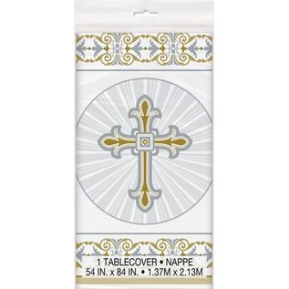 "Tablecover-Radiant Cross Gold & Silver-54"" x 84"""