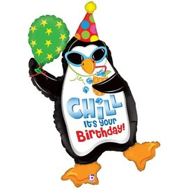 Foil Balloon-Chill It's Your Birthday Penguin-40""