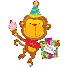 "Foil Balloon-Happy Birthday-Monkey-Supershape-49"""