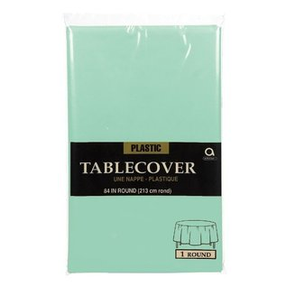 Tablecover-Cool Mint-Round-Plastic-84""