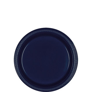 "Luncheon Plastic Plate-True Navy-20pk-9"""