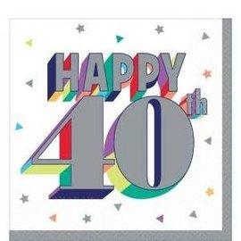 Beverage Napkins-40th Birthday-16pk-2ply