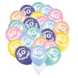 Balloons-Latex-Here's To 40-15pk-12""