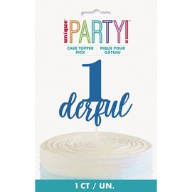 Cake Topper- 1-derful- Blue