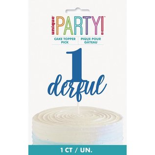 Cake Topper- 1derful- Blue-1 Count