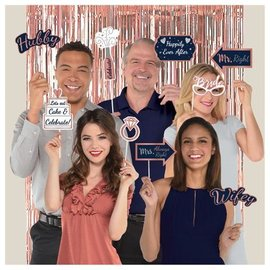 Selfie Scene-Photo Props with Glitter and Foil-Navy Bride-20pk