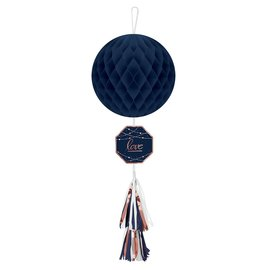 Hanging Honeycomb Decorations-Navy Bride-1pc-29.5""
