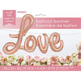 """Foil Balloon- Airfilled- Love- Rose Gold- 36"""""""