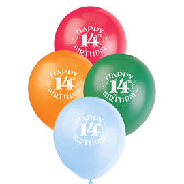 """Balloons-Latex -14th Bday 12"""" (6 pack)"""