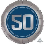 "Foil Balloon-18""-Blue Steel-50th Birthday"