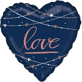 Foil Balloon-Supershape-Navy Love Heart