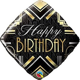 Foil Balloon-Happy Birthday-Gold and Black Diamond-18""