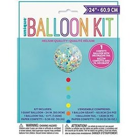Balloon Kit- Confetti Balloon with Decorative Tail- 24""