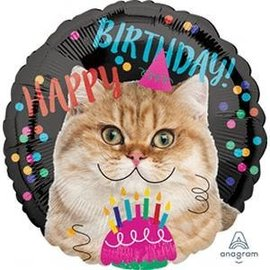 Foil Balloon - Birthday/Cat - 18""