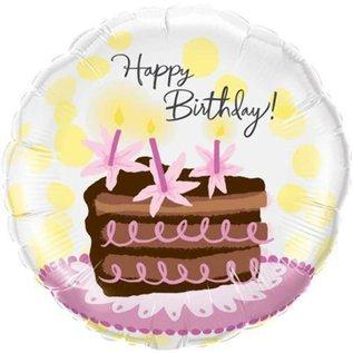 "Foil Balloon 18""-Chocolate Cake Slice Happy Birthday"