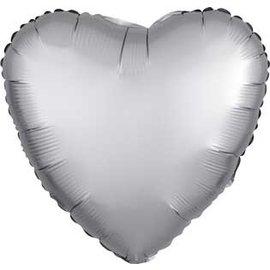"Foil Balloon - Platnium/Silver - Satin Luxe Heart - 18"""