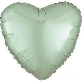 """Foil Balloon - Satin Luxe Heart - Mint Green - 18"""""""