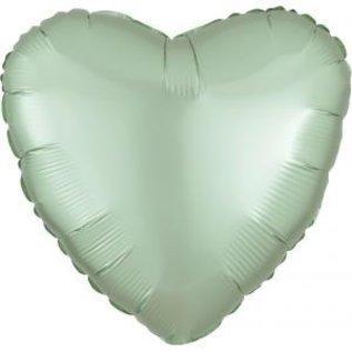"""Foil Balloon-Satin Luxe Heart Mint Green-18"""""""