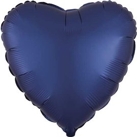 Foil Balloon - Navy - Satin Luxe Heart - 18""