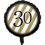 "Foil Balloon - Black and gold 30 metallic balloon 18"""