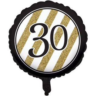 Foil Balloon - Black and gold 30 metallic balloon 18""