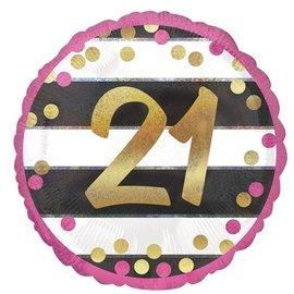 "Foil Balloon - 21st Birthday Pink 18"""