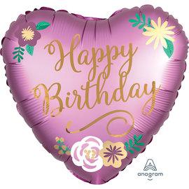 "Foil Balloon - Happy Birthday Floral Heart - 18"""