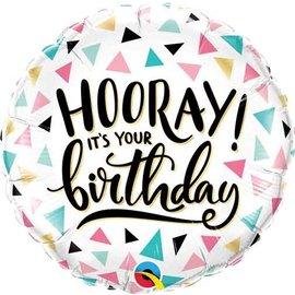 "Foil Ballon-18""-Hooray Birthday Pastel"