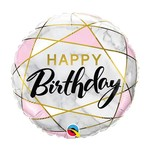 "Foil Balloon - Birthday Marble Rectangles -18"""