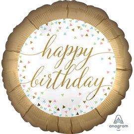 """Foil Balloon- Happy Birthday- Confetti Fun- 18"""""""