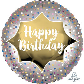 Foil-Happy Birthday /Silver with dots