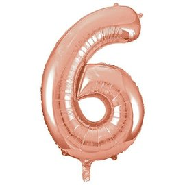 Foil Ballon-# 6-Rose Gold-34''