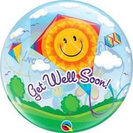 "Foil Balloon - Bubble/ Get Well Soon / 22"""