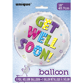 "Foil Balloon 18""-Get Well Soon Silver"