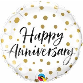 """Foil Balloon  - Happy Anniversary/ Gold and White/ 18"""""""
