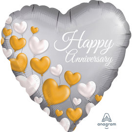 Foil Balloon  - Happy Anniversary/ Heart Shaped/ 18""