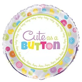Foil Balloon-Cute as a Button-18''