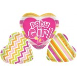 Foil Balloon-3 Piece Heart Supershape-It's a Girl