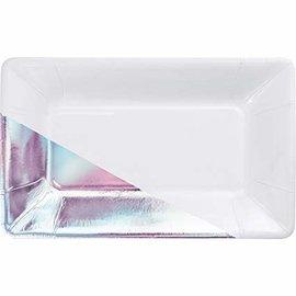 Plates- Appetizer- White & Iridescent- 8pk