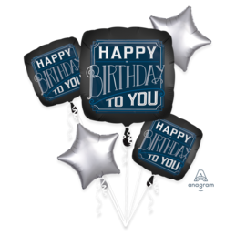 Foil Balloon - Happy Birthday Man - 5pk