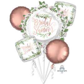 Foil Balloon-5pc Bouquet-Floral Bridal Shower