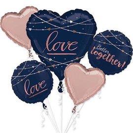 Foil Balloon-5pcs Bouquet-Midnight Blue Love
