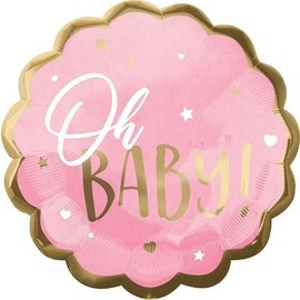 Foil Balloon-Supershape-Oh Baby!-Pink and Gold