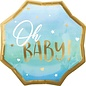 Foil Balloon-Supershape-Oh Baby!-Blue and Gold