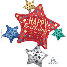 "Foil Balloon - Happy Birthday Stars/ Supershape/ 35"""
