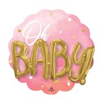 Foil Balloon-3D Supershape-Oh Baby-Pink and Gold